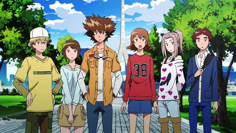 Six fashionably dressed young people standing outside during the day. They are gathered around several smaller monsters.